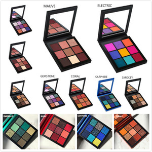 INS estilo de nueve colores Shiny Eye Shadow Sombra Color Tierra Metálico Color Polvo Portable Pearl Light Impermeable Sombra de ojos Sombra de ojos Paleta Maquillaje Set Ruby Topaz