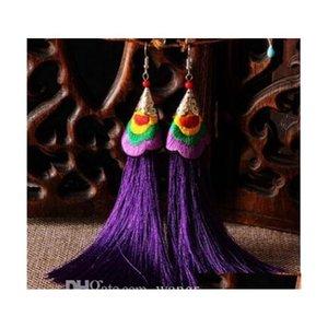 Yeni Uzun Püskül Küpe Moda Bohemian Handwoven Nakış Çiçekler Uzun Püskül Küpe Düğün Parçası için SQCZTW QUEEN66