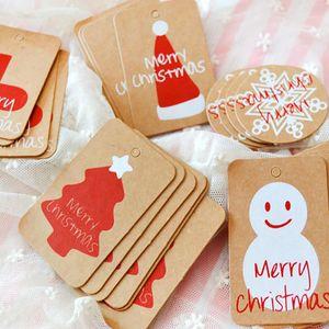 100Pcs Christmas Vintage Brown Paper Tag Snowflake Hangtag Kraft Tag Santa Claus Paper Card DIY Party Gift With Hemp Rope