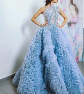 Aso Ebi 2021 Arabic Luxurious Sexy Evening Dresses 3D Floral Appliques Beaded Prom Dresses Tiers Formal Party Bridesmaid Pageant Gowns