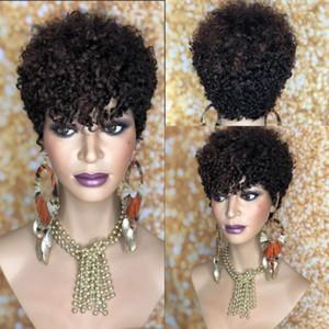 150density full Brazilian Human Hair Wig Kinky Curly Human Hair Kinky Wig Remy Short Bob Curly Wigs for africa american women
