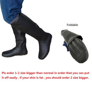 Japan Style Soft Women High Portable Rain boots Men Foldable Natural Rubber Galoshes Black Garding Field Planting Shoes Q1216