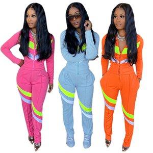 Womens jackets long sleeve sportswear outfits two piece set jogging sport suit sweatshirt tights sport suit women tops pants suit klw5649