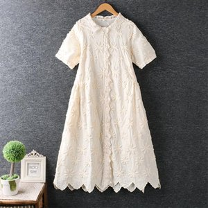 3D daisy flower surface embroidery lace patchwork lacing single breasted short sleeve cotton dress 2020 summer