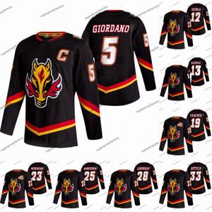 Donne Calgary Flames 2021 Reverse Retro Mark Giordano Matteo Tkachuk David Rittich Johnny Gaudreau Sean Monahan Elias Lindholm Jersey