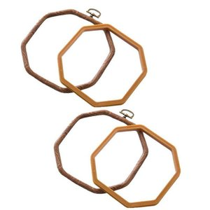 2 Packs Embroidery Hoops Cross Stitch Embroidery Octagon Set for Handy Art Craft Sewing Photo Frame - Imitated Wood