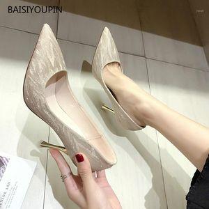 Nueva boda Four Seasons Fashion Women Shoes Blingbling Pointed Toe Office 5cm / 7cm / 9cmHigh Heels Bombas femeninas Zapatos de alta calidad1