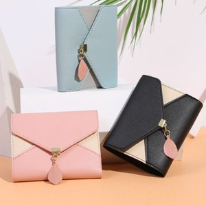 Geometric Luxury Leather Wallets Women Short Hasp Coin Purses Tassel Design Clutch Wallet Female Money Credit Card Holder