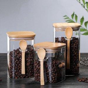with Spoon Sealed Jar Storage Tank Condiment Coffee Beans Tank Kitchen Supplies Sugar Storage Bottle Box
