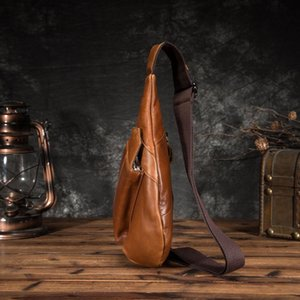 """Oil One Leather Men Travel Bag Design Fashion Chest Casual Triangle Black Sling 8"""" Tablet Wax 8693 Daypack Male Shoulder Qaduc"""