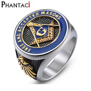 Без высокого качества колец из нержавеющей стали для Mason Freemasonry Retro Men Masonic Ring Hiphop Silver Anillous