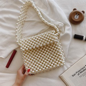 Designer-Handmade Women Pearl Beaded Shoulder Bags Charm Acrylic Beads White Pearls Crossbody Bag Evening Clutch Purse Lady 2019