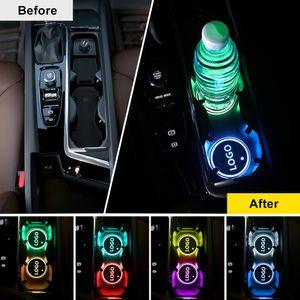 2PCS Luminous car logo coaster USB Recharge LED Logo lights Car Accessories Car Luminous Cup Drink Coaster Holder