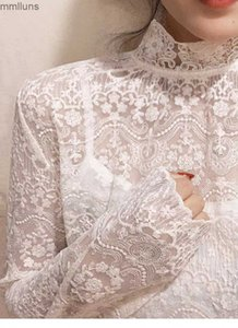 stand 2021 full of details ~ exquisite small collar Lace Crochet shirt for women in spring and Autumn Period
