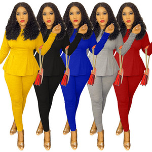Women Designers Clothes 2020 Solid Color Two Piece Binding Set Fashion Slim Waist Skirt Top Pencil Pants Women Clothes S-XXL
