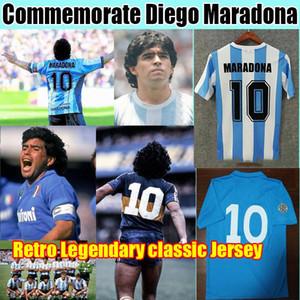 الاحتفال Maradona Retro Napoli Napoles Boca Juniors Maradona Soccer Jersey 1978 1981 1986 1987 خمر كرة القدم قميص كيت الكلاسيكية الزي