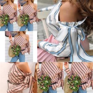 Ong 2019 Eğimli Omuz Tasarımcısı Lace Up Şerit Moda Kadınlar Için 2019 Eğimli Gömlek Omuz Lace Up Şerit Moda Gömlek için