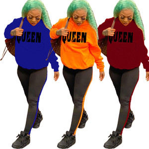women designer tracksuit two pieces set outfits shirt leggings sportswear long sleeve pullover pants sportsuit sweatshirts long pants k5654