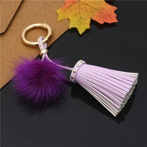 Leather Key Fur Tassels Keychain Tassels Mdmjd With Car Eh812 Mink For Bag With Chain One H Jewelry Wmtigl Ring Ball Key Pmllm