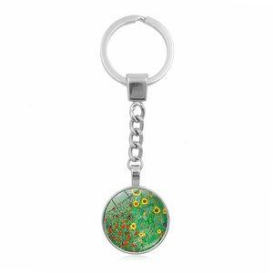 Gustav Klimt Kiss Killchain Ювелирные изделия с серебряным цветным стеклом Cabochon Klimt Kiss Pattern Car Keychain Ring для женщин подарок Wmthak Hwjh