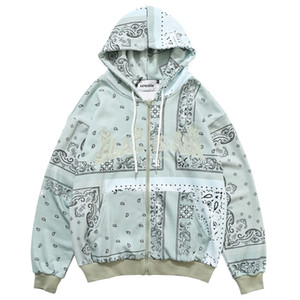 Herren Hip Hop Pullover Hoodies Gestickter Bandana Patchwork Voller Reißverschluss Mit Kapuze Sweatshirts Jacken Harajuku Casual Tops 201113