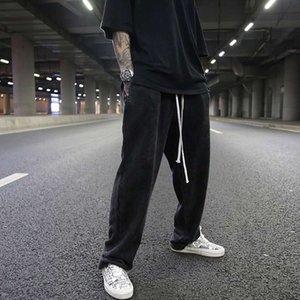 Dark Ro Vento Lavaggio Acqua Faccia Vecchio Terry Cotton Goccia Sensazione del pavimento Trascinando Pantaloni casual da goccia ad alta gamba larga
