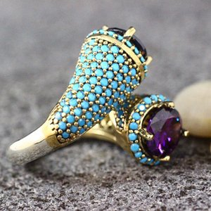 Vintage Gold Color Turquoises Beaded Opening Ring For Women Girls Punk Party Retro Purple Zircon Jewelry Gift G4M853
