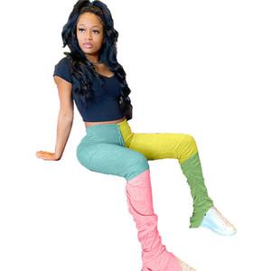 Diseñador apilado para mujer Micro apretado pantalones Casual Contraste Color Sexy Capris Fashion Wetage New Womens Ropa