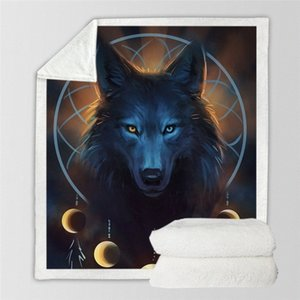 Wolf Warrior SunimaArt Batts Battaniye Yumuşak Sherpa Polar Battaniye Peluş Bedclothes Kurt Dreamcatcher Koveberttor 7avu #
