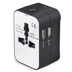 International Universal All in Worldwide Travel Adapter Wall Charger AC Power Plug Adapter with Dual USB Charging Ports for USA EU UK AU