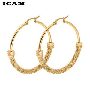 ICAM 2020 punk 30-60mm Diámetro aro aretes de aro para mujeres Pendientes de declaración de moda Accesorios de joyería de moda