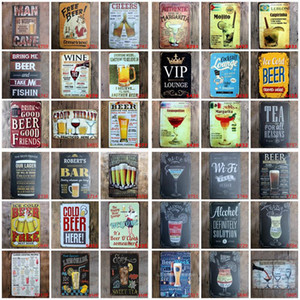 Metal Tin Signs Poster Mojito Cocktail Beer Plaque Art Sticker Paintings Decorative Iron Plates Bar Club Wall Decor OWD1271