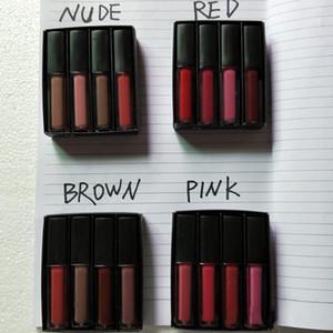 العلامة التجارية Beauty Liquid Lipstick Kit The Red Nude Brown Pink Edition Mini Liquid Matte Lipstick 4pcs / set