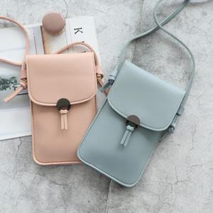 2020 Woman Shoulder Phone Case Transparent Purses Simple Mini Crossbody Bags Designer Pu Leather Messenger Bag for Women Q1127