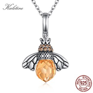 KALETINE Fashion Necklaces For Women Honey Bee 925 Sterling Silver Pendant Yellow Crystal Charm Chocker Statement Necklace Z1126