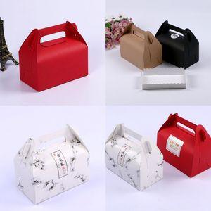 Kreatives Papier Backen Verpackungsbox Tragbare Griff Konditor Box Geschenk Mousse Box Exquisite Kuchen Cookie Container 185 J2