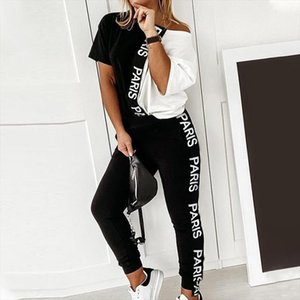 Letter Print Off Shoulder Womens Tracksuit Sets 2 Piece Sets Short Sleeve Female Top Suit 2020 Summer Sport Pant Suits Female