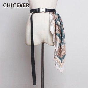 CHICEVER Vintage Patchwork Scarf Print Hit Color Women's Belt Metal Adjustable Accessories PU Leather Belts Female Korean 2020