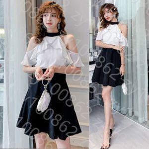 2021 summer dress new off shoulder Ruffle big swing small black skirt short skirt slim Hepburn off shoulder dress