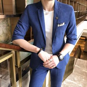 Blue Mens Suits Designers 2020 Summer Fashion Dress Men Prom Suits Traje Hombre Slim Fit Social Club Mens Casual Smocking