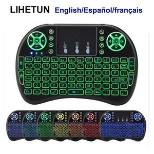 I8 무선 미니 키보드 7 백라이트 2.4GHz 플라이 에어 마우스 리튬 이온 배터리 원격 제어 영어 스페인어 프랑스어 안드로이드 TV 박스 PC