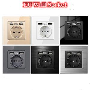 Soquete de energia da UE para casa 16A 250V Dual USB 5V 2A painel socket socket interruptor 86mm * 86mm parede soquete USB inteligente led on / off