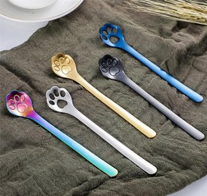 Sugar Spoon Tea Creative Design For Coffee Paw Cat Steel Spoon 304 Colored Starbucks Stainless wmtbV dayupshop