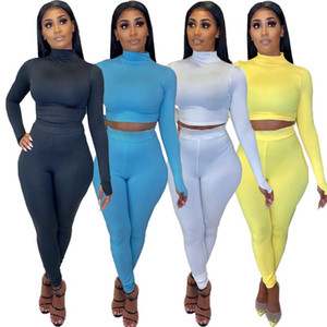 Women Two Piece Set Long Sleeve T-shirt High Waist Crop tops Jogger Pants Suit Tracksuit Matching Set Casual Outfit Sport Solid