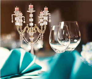 """Acrylic Candle Holders Candelabras With Crystal Pendants 77 CM 30"""" Height Marriage Candlestick Wedding Centerpieces Home Decor"""