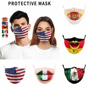 2021 New 3D digital printing of The flag of US and Mexico fashion face mask adjustable protective mask dust with PM2.5 filter masks