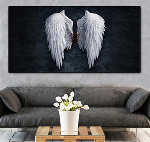 Paintings Decorative Wings Pictures Abstract Wall Canvas Room Black Vintage Art Angel For Posters Wall Prints Modern Living And White jllcI