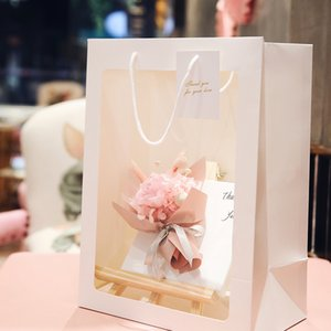 Transparent Flower Portable Gift Bag Creative Transparent Window Handbag Birthday Gift Flower Bag Immortal Flower Stand Hand Carry Gift Bag