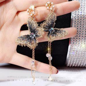 Fashion INS Embroidery Butterfly Wedding Earrings Crystals Long Tassel Drop Dangle Earrings Jewelry For Girls Women Party Prom Evening Dress