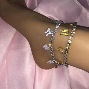 Glaming Sevimli Altın Kelebek Bilezik Kadınlar Için Takı Toptan Moda Rhinestone Ayak Bileği Zincir Takı Kelebek Kolye